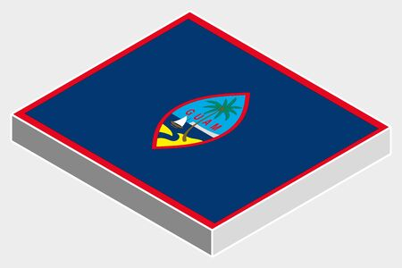 guam: A 3D Isometric Flag Illustration of the country of  Guam Stock Photo
