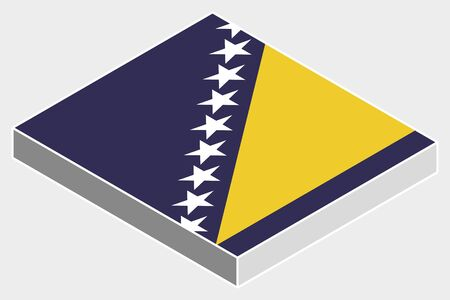 bosnia: A 3D Isometric Flag Illustration of the country of  Bosnia