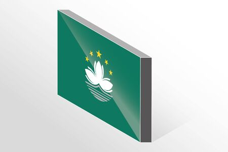 macau: A 3D Isometric Flag Illustration of the country of  Macau