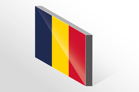 chad: A 3D Isometric Flag Illustration of the country of  Chad