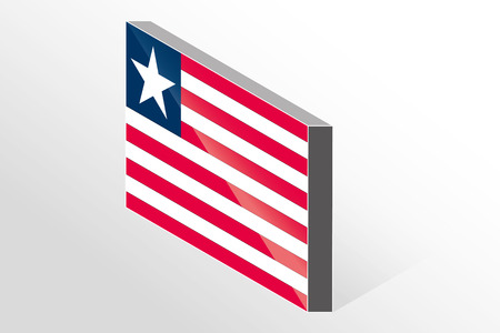 liberia: A 3D Isometric Flag Illustration of the country of  Liberia