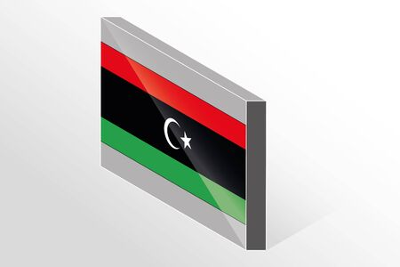 libya: A 3D Isometric Flag Illustration of the country of  Libya