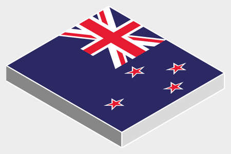 newzealand: A 3D Isometric Flag Illustration of the country of  NewZealand Stock Photo