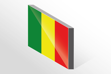 mali: A 3D Isometric Flag Illustration of the country of  Mali