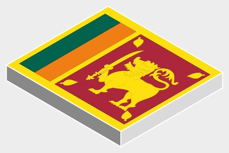 srilanka: A 3D Isometric Flag Illustration of the country of  SriLanka