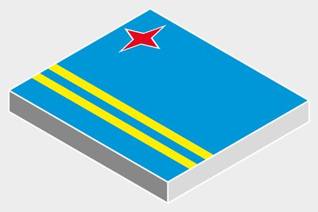 aruba flag: A 3D Isometric Flag Illustration of the country of  Aruba Stock Photo