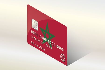 technology transaction: A 3D Isometric Flag Illustration of the country of  Morocco
