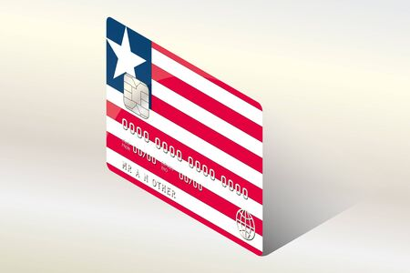 technology transaction: A 3D Isometric Flag Illustration of the country of  Liberia