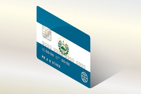 technology transaction: A 3D Isometric Flag Illustration of the country of  El Salvador