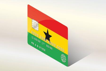 ghana: Un 3D isom�trique Drapeau Illustration du pays du Ghana Illustration