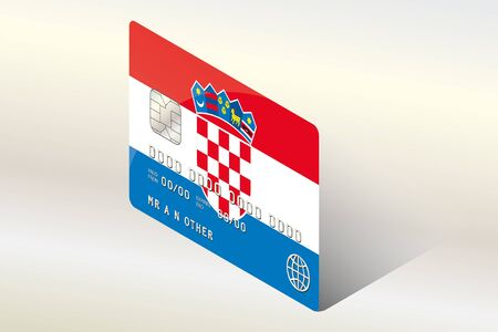 technology transaction: A 3D Isometric Flag Illustration of the country of  Croatia Illustration