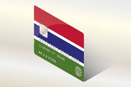 gambia: A 3D Isometric Flag Illustration of the country of  Gambia