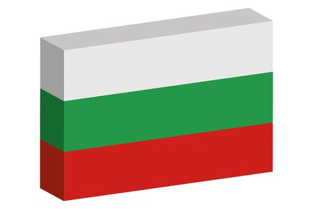 A 3D Isometric Flag Illustration of the country of  Bulgaria