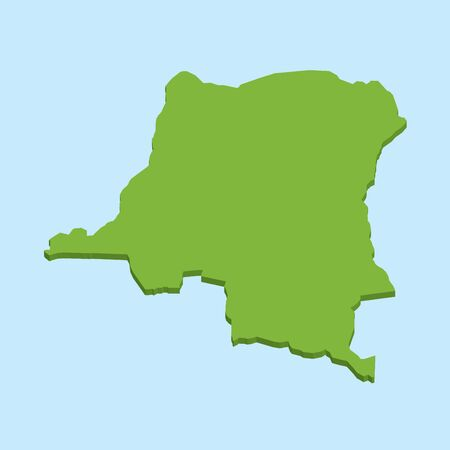 republic of the congo: A 3D map on blue water background of  Dem Republic Congo