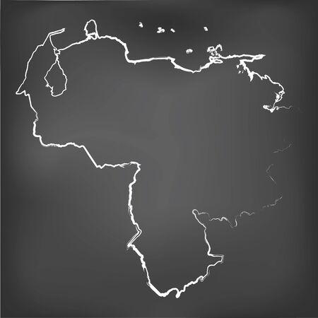 mapa de venezuela: Un mapa Tiza en una pizarra de Venezuela