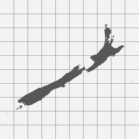 newzealand: Squared Paper with the Shape of the Country of   NewZealand