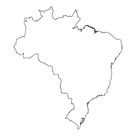 high detailed: A High detailed Outline of the country of  Brazil Illustration