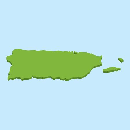 A 3D map on blue water background of  PuertoRico