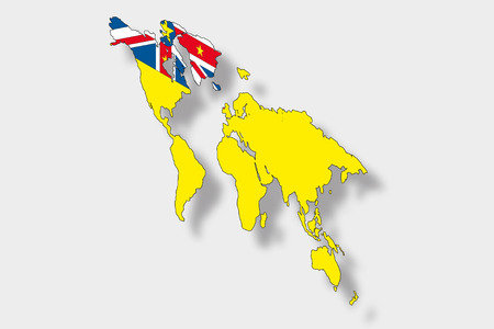 niue: A 3D Isometric Flag Illustration of a map of the world with the flag of  Niue