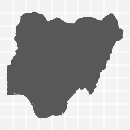 country nigeria: Squared Paper with the Shape of the Country of   Nigeria