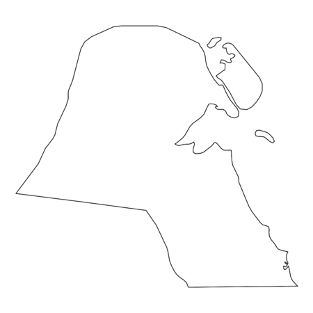 high detailed: A High detailed Outline of the country of  Kuwait
