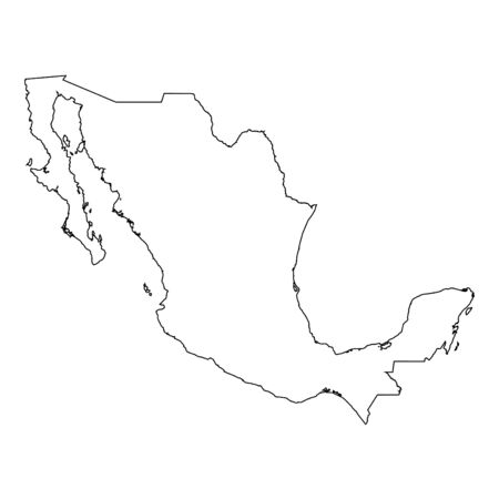 high detailed: A High detailed Outline of the country of  Mexico Illustration