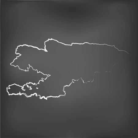 world class: A Chalked map on a chalk board of  Kyrgyzstan