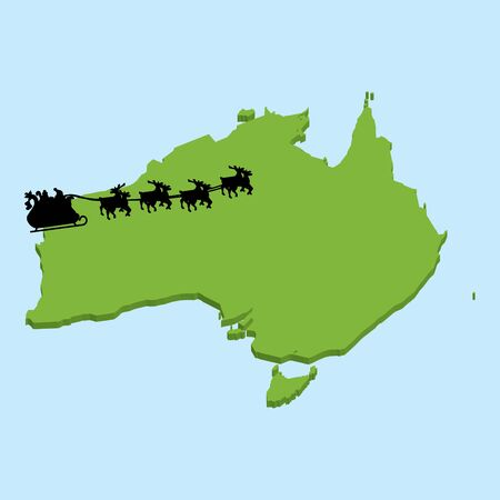australia map: A 3D map on blue water with Santa background of  Australia