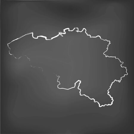 world class: A Chalked map on a chalk board of  Belgium