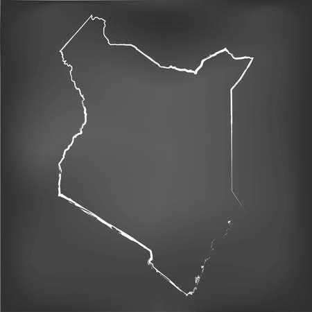 world class: A Chalked map on a chalk board of  Kenya