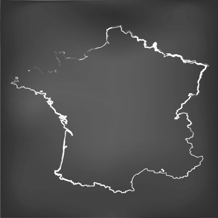 world class: A Chalked map on a chalk board of  France