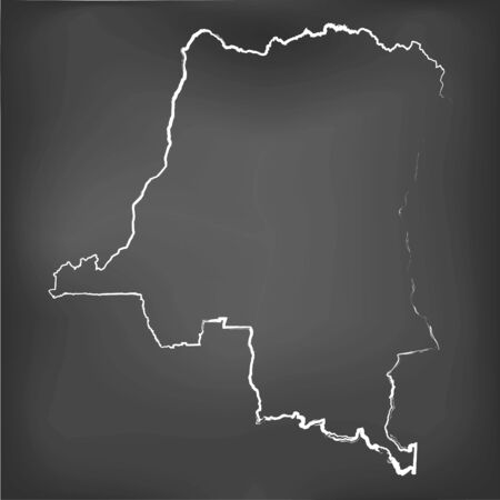 republic of the congo: A Chalked map on a chalk board of Dem Republic Congo