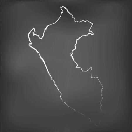 mapa del peru: Un mapa Tiza en una pizarra de Perú Vectores