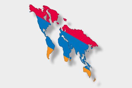 map of armenia: A 3D Isometric Flag Illustration of a map of the world with the flag of  Armenia Illustration