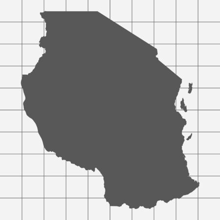 tanzania: Squared Paper with the Shape of the Country of   Tanzania Illustration