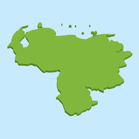 mapa de venezuela: Un mapa en 3D sobre fondo azul del agua de Venezuela