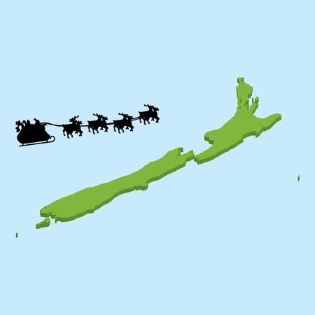 newzealand: A 3D map on blue water with Santa background of  NewZealand