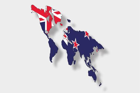 newzealand: A 3D Isometric Flag Illustration of a map of the world with the flag of  NewZealand
