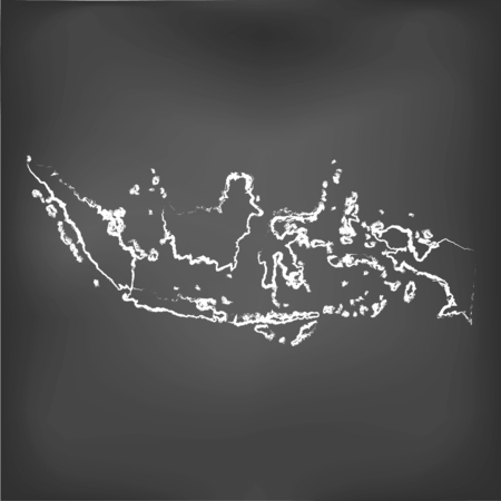 A Chalked map on a chalk board of  Indonesia