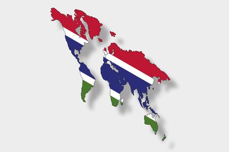 gambia: A 3D Isometric Flag Illustration of a map of the world with the flag of  Gambia