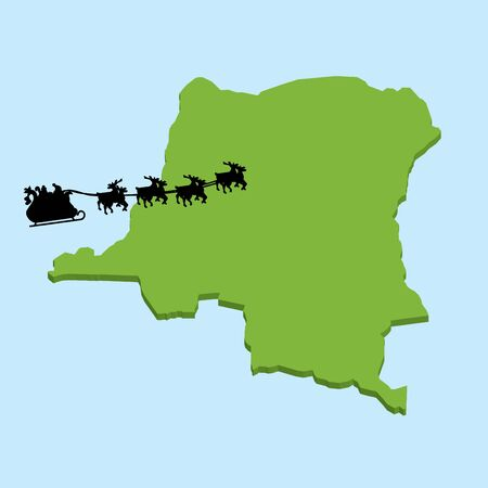 republic of the congo: A 3D map on blue water with Santa background of  Dem Republic Congo