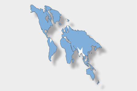 micronesia: A 3D Isometric Flag Illustration of a map of the world with the flag of  Micronesia