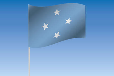 micronesia: A 3D Flag Illustration waving in the sky of the country of  Micronesia Stock Photo