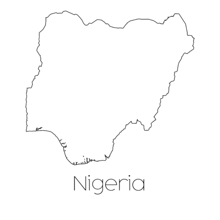 country nigeria: A Country Shape isolated on background of the country of Nigeria