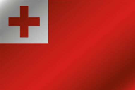 tonga: A 3D Wavy Flag Illustration of the country of  Tonga Stock Photo