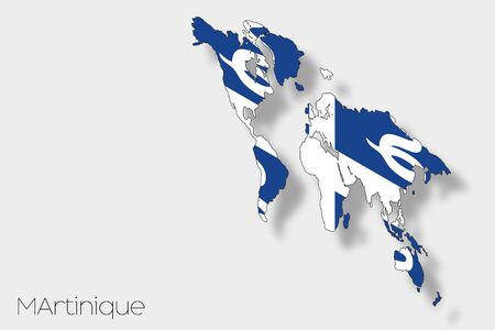 martinique: A 3D Isometric Flag Illustration of the country of  Martinique Stock Photo