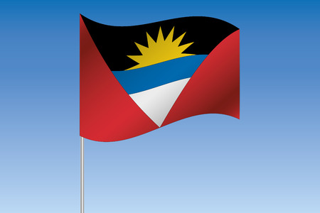 antigua: A 3D Flag Illustration waving in the sky of the country of  Antigua and Barbuda