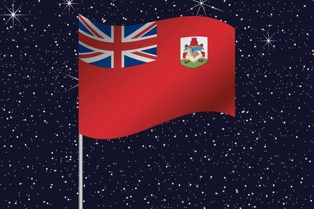 bermuda: 3D Flag Illustration waving in the night sky of the country of  Bermuda Stock Photo