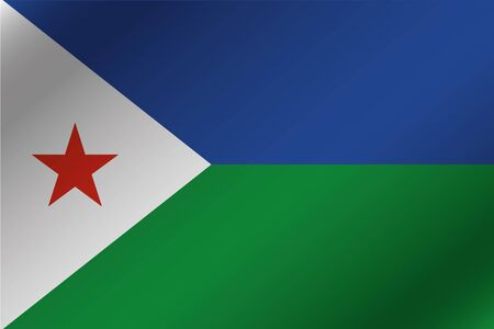 djibouti: A 3D Wavy Flag Illustration of the country of  Djibouti