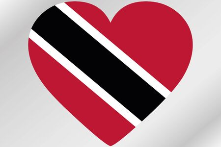 trinidad: A Flag Illustration of a heart with the flag of  Trinidad and Tobago